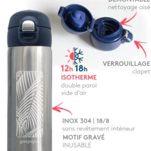 Mug inox isotherme Gaspajoe : Trendy Palmier 350ml parfait pour emporter le café du matin