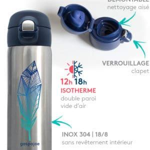 Mug inox isotherme Gaspajoe : Trendy Plume